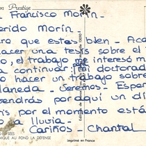 Postcard from Chantal to Francisco Morín