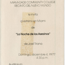 "Invitation for the production, ""La noche de los asesinos"""