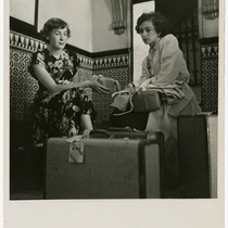 Photograph of Dena Radoff and Jo Herman in Havana hotel lobby