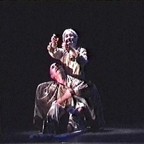 "Photograph of Adnaloy Pérez (Lila) and Javier Fernández Jaure (Felo) in the production, ""La noche del Pez Luna"""