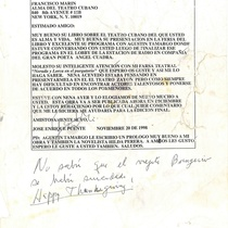 Letter from José Enrique Puente to Francisco Morín, 1998