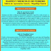 Poster for the event, Talleres de Apreciación Teatral y Maquillaje Teatral