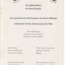 "Program for the production, ""El principito"""