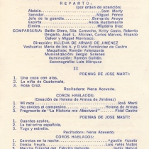 "Program for the production, ""Abdala"", for the poems by Martí recited by N. Acevedo and for the spoken choruses,  ""Mi raza"", ""No olvides al campesino"", ""Marcha triunfal del ejército rebelde"", ""Las carretas"", ""Danza negra"", and ""La historia me absolverá"""