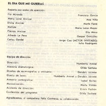 "Program for the production, ""El dia que me quieras"""