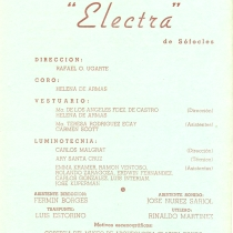 "Program for the production, ""Electra"""