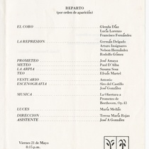 "Program for the production, ""Prometeo"""