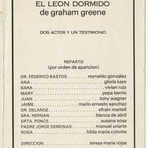 "Program for the production, ""El león dormido"""