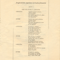 "Program for the production, ""Luisa Fernanda"""
