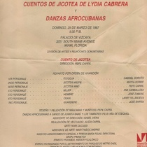 Flyer for the theatrical production, Cuentos de Jicotea de Lydia Cabrera y Danzas afrocubanas