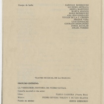 "Program for the production, ""Una señora comediante (Teatro Musical de La Habana)"
