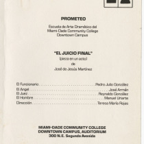 "Program for the production, ""El juicio final"""