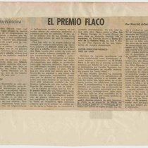 "Newspaper clipping for the production, ""El premio flaco"""