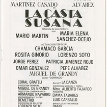"Program for the production, ""La casta Susana"" (Chaste Susana)"