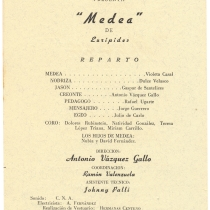 "Program for the production, ""Medea"""
