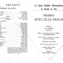 "Program for the production, ""Auto de la pasión"" (Santiago de Cuba, 1964)"