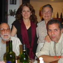 Abelardo Estorino,  Olga Lastra, Estorino' sister, and Reinaldo Montero in Estorino's birthday party, 2004