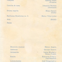 "Program for the production, ""Pequenos conciertos"""
