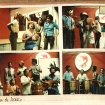 Photographs of the East and West Coast Teatro Brigade visiting the Grupo Cubana de Acero in their rehearsal studio