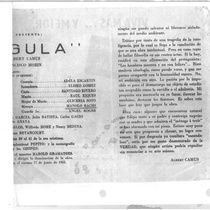 "Copy of the program for the production, ""Calígula"" (Havana, 1955)"