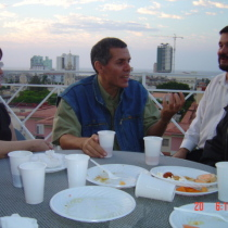 Photograph of Olga Lastra, Reinaldo Montero, Omar Valiño, and Abelardo Estorino at Fundación Ludwig, Havana