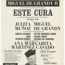 "Playbill for the production, ""Este cura"" (This priest)"