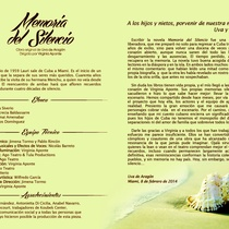 "Program for the production, ""Memoria del Silencio"""