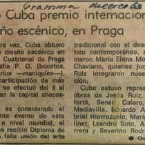 Press clippings about Cuba's participation in the Prague Quadrennial