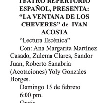 Advertising for the staged reading, La ventana de los chéveres