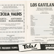 "Program for the production, ""Los gavilanes"" (The sparrowhawks)"