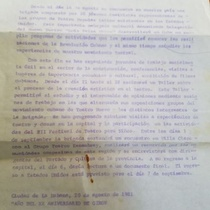 Letter from Cuban Ministry of Culture about Delegation Nuevo Teatro