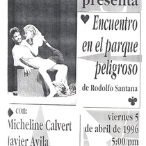 Poster of the production, Encuentro en el parque peligroso