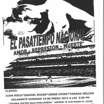 "Flyer for the staged reading, ""El pasatiempo nacional"""