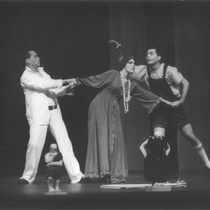 "Photograph of Déxter Cápiro (Orestes Garrigó), Amarilys Núñez (Clitemnestra) and Mario Guerra (Egisto) in the production, ""Electra Garrigó"""