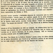 "Program for the production, ""La moral de la Sra. Dulska"""
