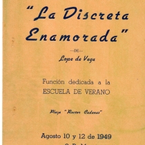 "Poster for the production, ""La discreta enamorada"""