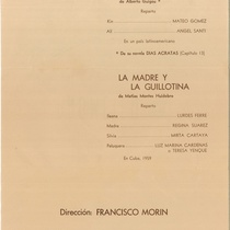 "Program for the production, ""La madre y la guillotina"" (New York, 1976)"