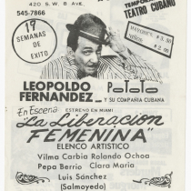 "Playbill for the production, ""La liberación femenina"" (Women's liberation)"