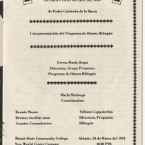 "Program for the production, ""El gran teatro del mundo"""