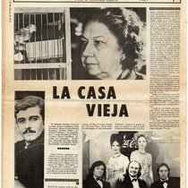 "Newspaper clipping titled, ""La casa vieja"" (The old house)"