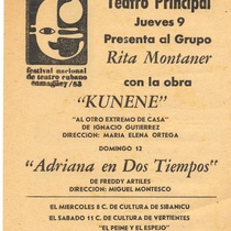 "Poster for the production, ""Adriana en dos tiempos"""