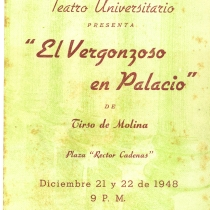 "Poster for the production, ""El vergonzoso en palacio"""