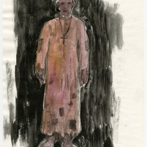"Costume sketch for the character ""Padre"" (Priest) for the production, ""Los fantasmas de Tulemón"""