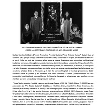 "Press release for the production, ""La sal de los muertos"""