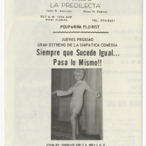 "Playbill for the production, ""Mi mujer tiene un amigo"" (My wife has a male friend)"