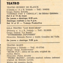"Advertisement for the productions ""Contigo pan y cebolla"", ""Entremeses japoneses"", ""Miami FLA"", ""Pedro Manso"" y ""Aire Frio"""