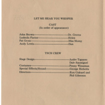 "Program for the production, ""Let me hear you whisper"""