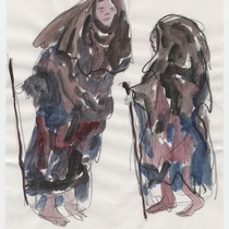 "Costume sketch for the character ""Mendigo"" (beggar) for the production, ""Los fantasmas de Tulemón"""