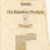 "Press release for the production, ""La zapatera prodigiosa"""