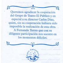 "Program for the production, ""Los mangos de Caín"""